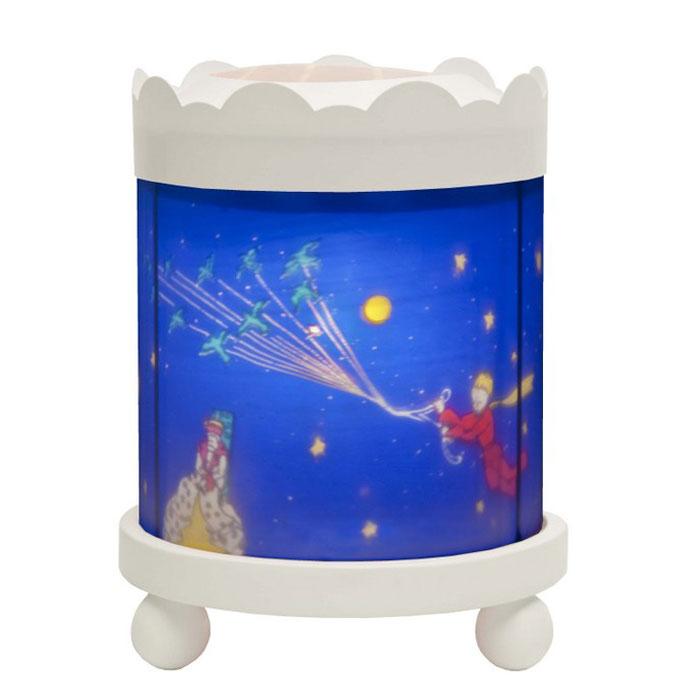 Trousselier Светильник-ночник с проектором Merry Go round Little Prince цвет белый43M30W 12VНочники Trousselier - идеальный аксессуар для детской комнаты. Нежный свет и красочные картинки создадут атмосферу уюта, успокоят и убаюкают кроху. Вы можете подобрать картинку, а также музыкальную подставку с подзаводом (опция). Ночник с двойной функцией – вращающаяся картинка внутри, либо, как проектор на стену. Цилиндр ночника вращается благодаря системе нагрева от лампочки 12 V 20 W, розетка E 14.C. Размер: 16,50 см x 19 см. Материал: металлический корпус, деревянные ножки, пластиковый, жароустойчивый цилиндр. Поставляется в подарочной упаковке. При удалении белого цилиндра, лампа проецирует на стены изображение героев.