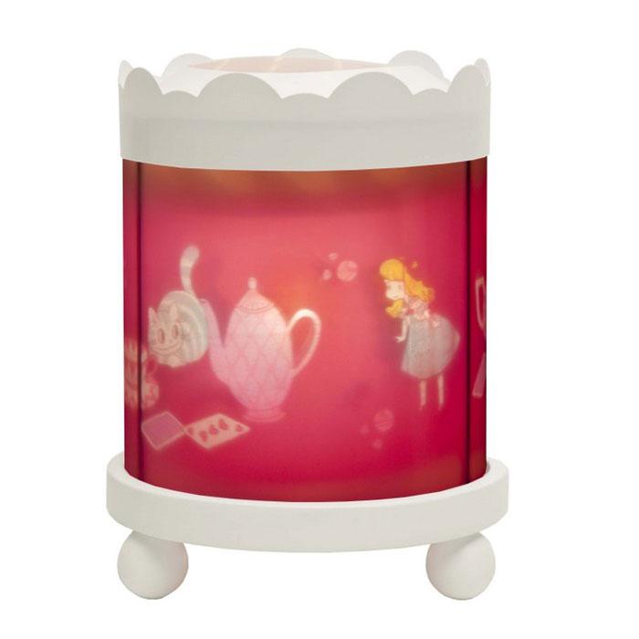 Trousselier Светильник-ночник с проектором Merry Go round Magic Lantern Alice цвет белый43M15W 12VНочники Trousselier - идеальный аксессуар для детской комнаты. Нежный свет и красочные картинки создадут атмосферу уюта, успокоят и убаюкают кроху. Вы можете подобрать картинку, а также музыкальную подставку с подзаводом (опция). Ночник с двойной функцией – вращающаяся картинка внутри, либо, как проектор на стену. Цилиндр ночника вращается благодаря системе нагрева от лампочки 12 V 20 W, розетка E 14.C. Размер: 16,50 см x 19 см. Материал: металлический корпус, деревянные ножки, пластиковый, жароустойчивый цилиндр. Поставляется в подарочной упаковке. При удалении белого цилиндра, лампа проецирует на стены изображение героев.