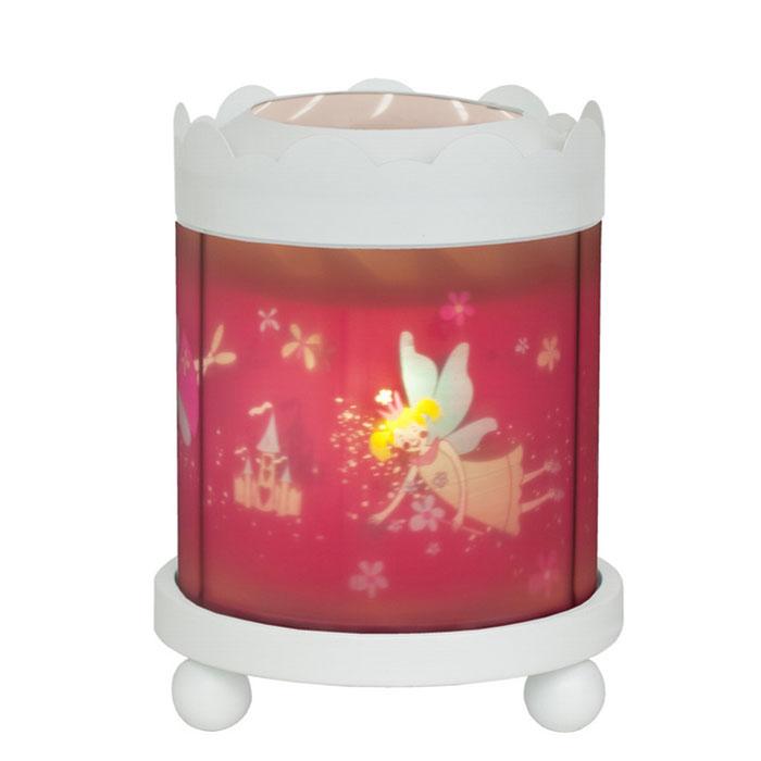 Trousselier Светильник-ночник с проектором Merry Go round Magic Lantern Fairy Princess цвет белый43M12W 12VНочники Trousselier - идеальный аксессуар для детской комнаты. Нежный свет и красочные картинки создадут атмосферу уюта, успокоят и убаюкают кроху. Вы можете подобрать картинку, а также музыкальную подставку с подзаводом (опция). Ночник с двойной функцией – вращающаяся картинка внутри, либо, как проектор на стену. Цилиндр ночника вращается благодаря системе нагрева от лампочки 12 V 20 W, розетка E 14.C. Размер: 16,50 см x 19 см. Материал: металлический корпус, деревянные ножки, пластиковый, жароустойчивый цилиндр. Поставляется в подарочной упаковке. При удалении белого цилиндра, лампа проецирует на стены изображение героев.