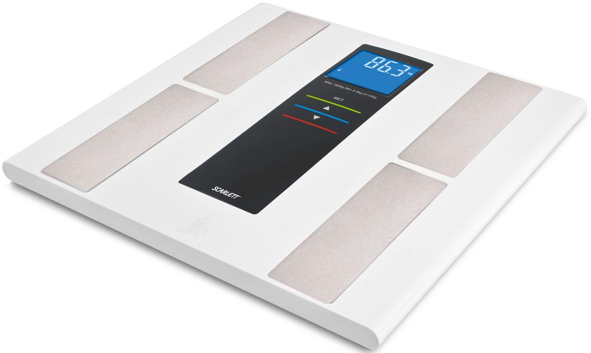 Scarlett SC-219, White напольные весыSC-219Напольные весы Scarlett SC-219 в корпусе из нержавеющей стали и закаленного стекла позволят ежедневно контролировать вес человеку, заботящемуся о здоровье и стройной фигуре. Модель выдерживает нагрузку до 180 кг и выводит на дисплей результаты в килограммах. Электронный дисплей оснащен хорошо видимыми подсвечивающимися символами. Устройство обладает объемом памяти на 10 пользователей, а кроме массы тела владелец весов получит информацию о доле жировой, мышечной и костной ткани, а также о содержании в организме воды. Индикатор перегрузки Индикатор заряда батареи Прорезиненные ножки Высокочувствительные датчики