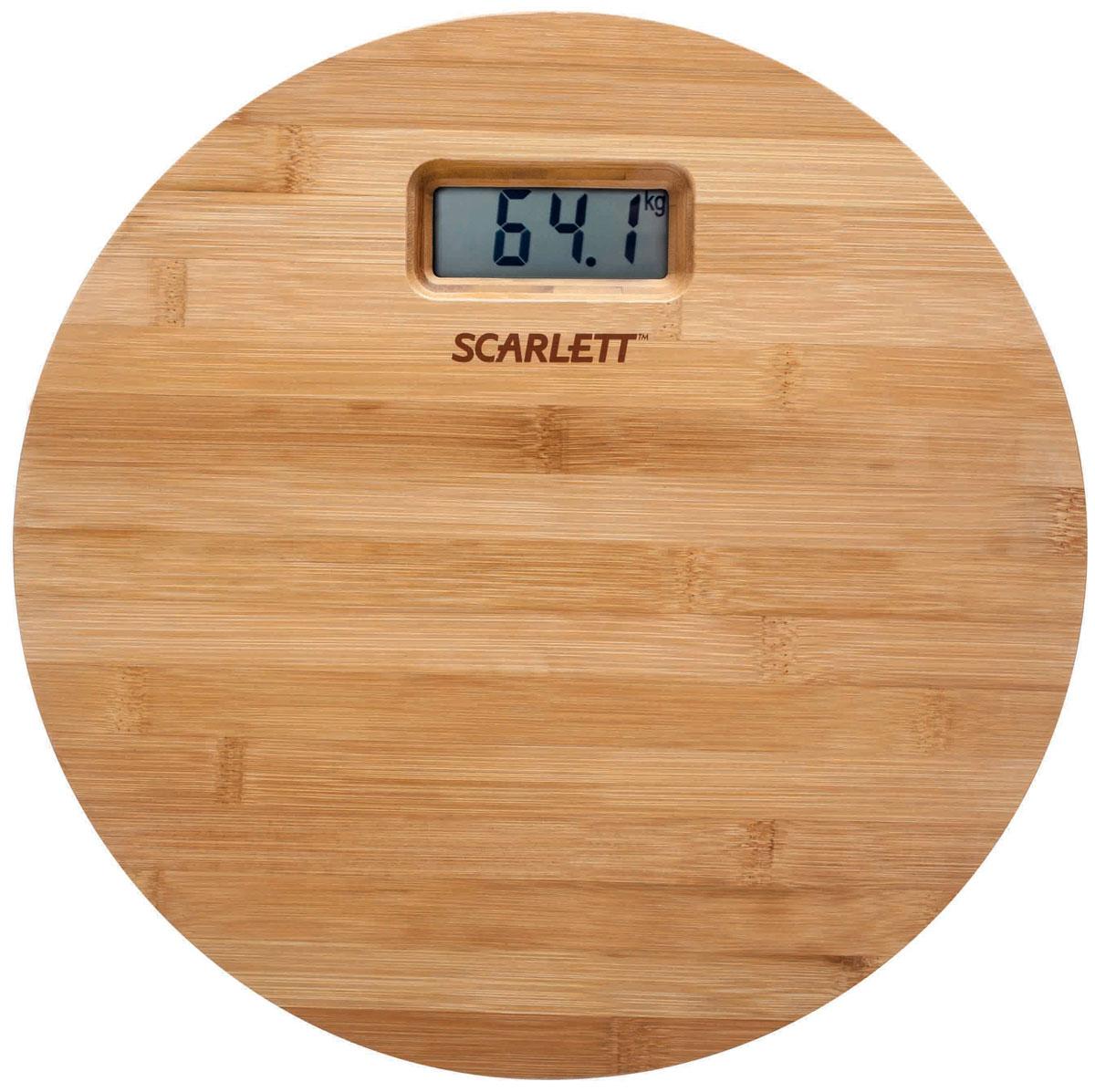 Scarlett SC-BS33E061, Bamboo напольные весыSC-BS33E061Напольные весы Scarlett SC-BS33E061 в экологичном корпусе из дерева позволят ежедневно контролировать вес человеку, заботящемуся о здоровье и стройной фигуре. Модель выдерживает нагрузку до 180 кг и выводит на дисплей результаты в килограммах, стоунах или фунтах. Электронный дисплей оснащен хорошо видимыми символами. Для запуска Scarlett SC-BS33E061 достаточно всего лишь одного прикосновения, а также весы способны самостоятельно выключаться после использования. Прорезиненные ножки Индикатор перегрузки Индикатор заряда батареи
