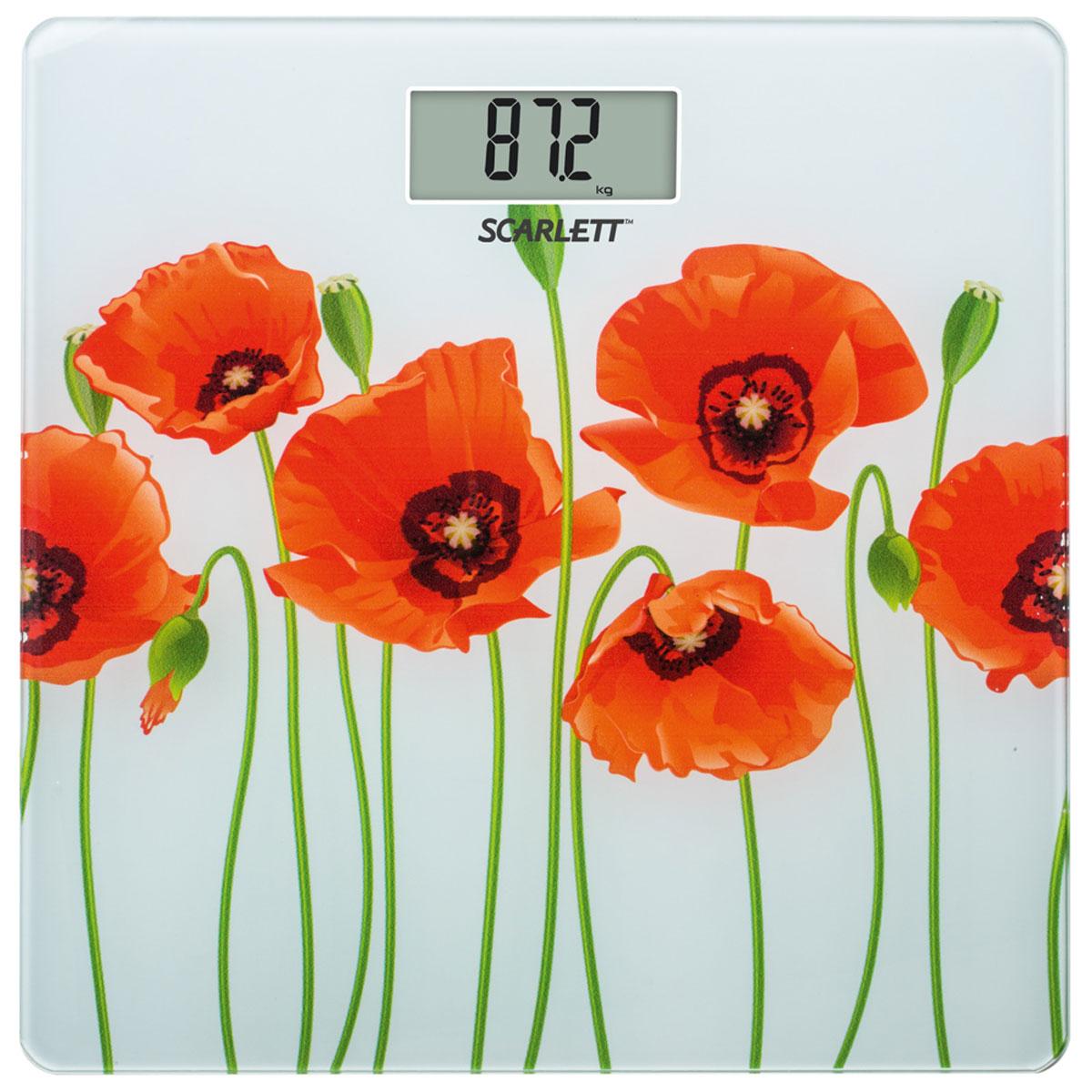 Scarlett SC-BS33E074, Poppies напольные весыSC-BS33E074Напольные весы Scarlett SC-BS33E074 в корпусе из закаленного стекла с цветочным рисунком позволят ежедневно контролировать вес человеку, заботящемуся о здоровье и стройной фигуре. Модель выдерживает нагрузку до 180 кг и выводит на дисплей результаты в килограммах, стоунах или фунтах. Специальный индикатор уровня заряда и перегрузки подскажет, когда стоит заменить батарею или уменьшить нагрузку. Электронный дисплей оснащен хорошо видимыми символами, а прорезиненные ножки служат для предотвращения скольжения устройства по поверхности.