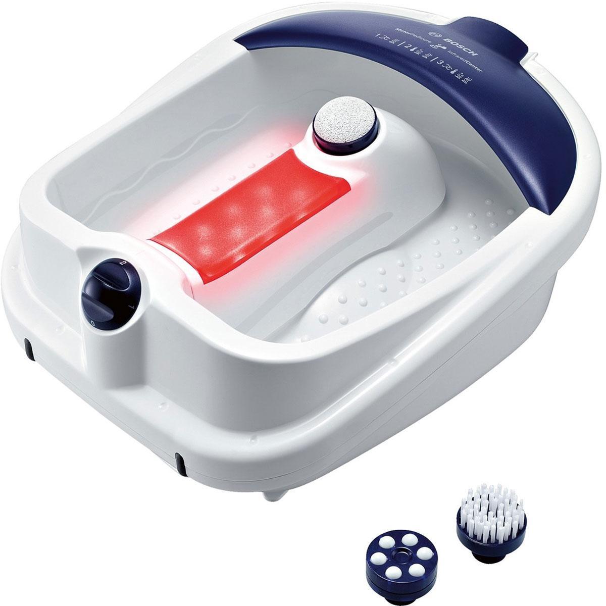 Bosch PMF3000 гидромассажная ванночка для ногPMF3000Массажная ванночка Bosch PMF3000 предназначена для бережного ухода за ногами в домашних условиях. Она позволит вам устроить настоящий праздник для ваших ножек, ведь в комплект устройства входят различные насадки, такие как щетка, пемза и массажные ролики, которые позволят вам сделать салонный педикюр. Функции вибромассажа, пузырькового массажа и поддержания тепла позволят расслабиться после тяжелого дня. Большая массажная поверхность ванночки подойдет даже для 45 размера ноги! Инфракрасная зона Удобный слив воды Защита от брызг Намотка шнура для более удобного хранения Поворотный переключатель