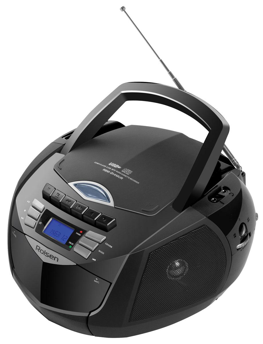 Rolsen RBM-214MUR, Black аудиомагнитола