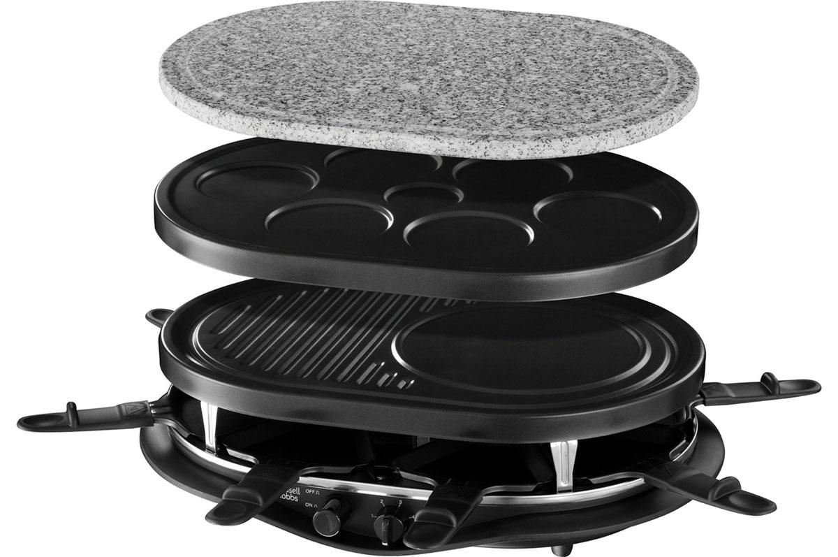 Russell Hobbs 21000-56 Fiesta 8-Pan электрогриль21000-56Воскресные семейные обеды или ужин для компании друзей теперь станут еще более приятными, интересными и разнообразными, а главное - совершенно бесхлопотными с новым универсальным грилем Russell Hobbs 21000-56 Fiesta 8-Pan для настольного приготовления еды. Просто заготовьте сырые ингредиенты: тесто для блинчиков, кусочки сырого мяса, птицы или рыбы, свежие овощи, а также специи. Ваши гости сами смогут подобрать под себя желаемые продукты и готовить их, не выходя из-за стола. Универсальный настольный прибор Russell Hobbs придаст особый вкус в сервировке стола, очень удобен и прост в использовании и гарантирует вам удовольствие от совместного приготовления вкусной домашней еды в кругу приятных вам людей. В комплект этого прибора входят разнообразные сменные панели: для выпекания мини-блинчиков, для приготовления лепешек или традиционных блинов, для гриля, соусов. Также в комплекте имеется камень для жарки мяса и овощей и 8 раклетниц для...