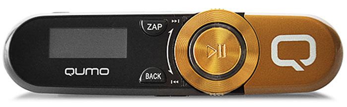 Qumo Magnitola 4Gb, Gold MP3-плеер20564Максимально удобный MP3-плеер Qumo Magnitola с клипсой крепления, встроенным разъемом USB и функцией FM-радио. Оснащен небольшим экраном для просмотра параметров воспроизведения и навигации в меню.