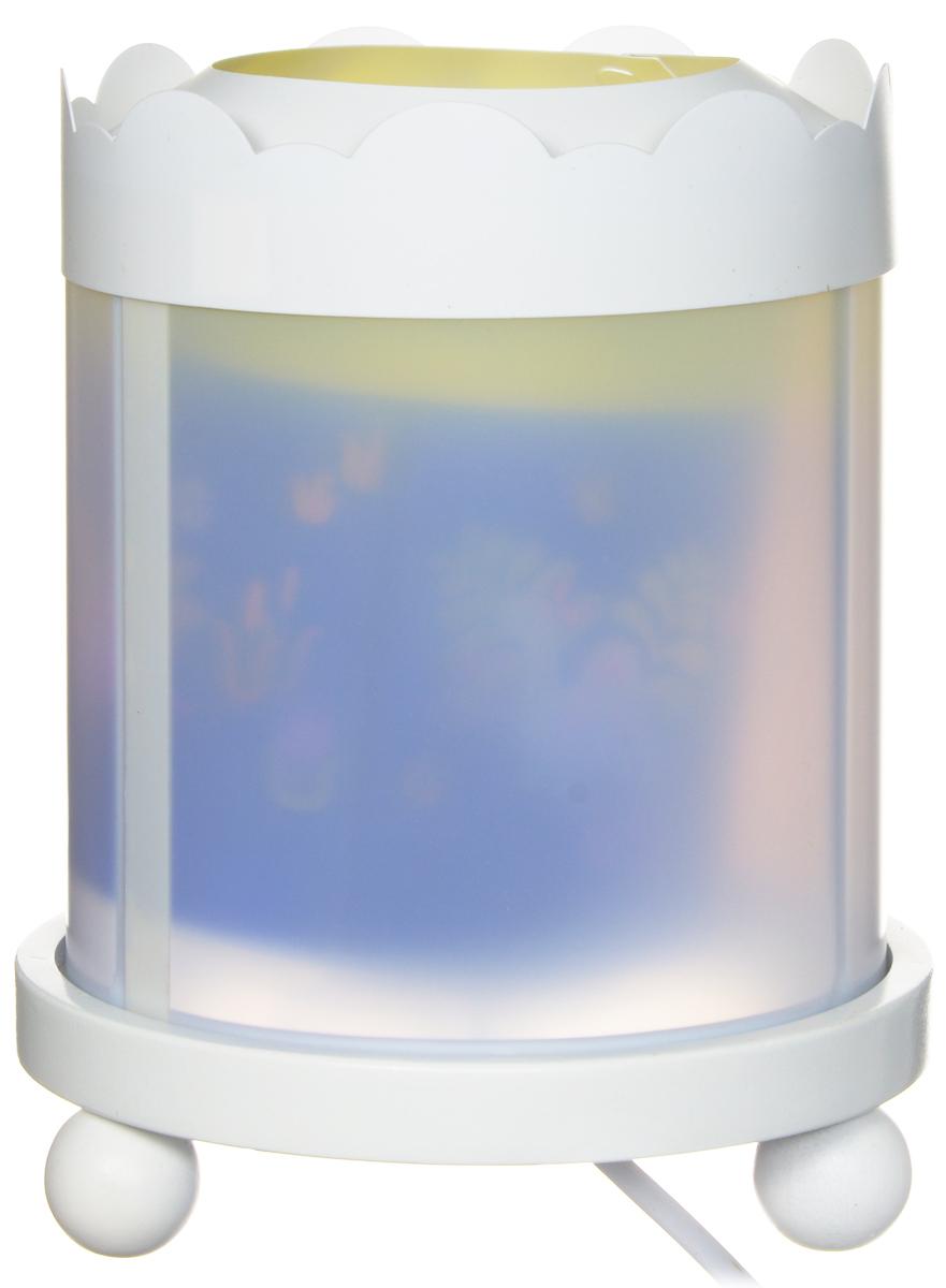 Trousselier Светильник-ночник с проектором Dinosaurs43M14W 12VСветильник-ночник с проектором Trousselier Dinosaurs - идеальный аксессуар для детской комнаты. Нежный свет и красочные картинки с забавными динозавриками создадут атмосферу уюта, успокоят и убаюкают кроху. Вы можете подобрать картинку, а также музыкальную подставку с подзаводом (опция). Ночник с двойной функцией - вращающаяся картинка внутри, либо как проектор на стену. Цилиндр ночника вращается благодаря системе нагрева от лампочки 12V-10W, цоколь E 14. Тип розетки: C. Соответствует нормам безопасности: CE EN 60598-2-10. Материал: металл, дерево, жароустойчивый пластик. В комплект входит светильник, крышка, сетевой адаптер.