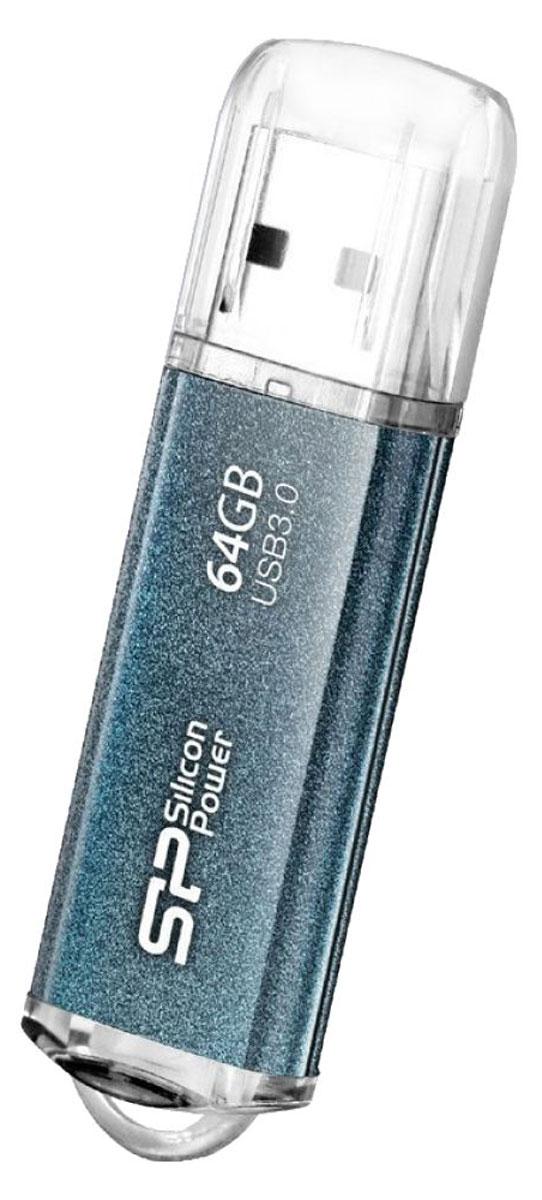 Silicon Power Marvel M01 64GB, Blue USB-накопительSP064GBUF3M01V1BПозиционируемый как экономичное решение Silicon Power Marvel M01 является качественным продуктом. Накопитель поддерживает интерфейс USB 3.0, а также обратно совместим с USB 2.0 и 1.1. Интерфейс USB 3.0 характеризуется пропускной способностью в 5 Гбит/сек, что в 10 раз быстрее, чем у интерфейса USB 2.0. Алюминиевый корпус защищает накопитель от царапин и отпечатков пальцев. Надежная конструкция обеспечивает долгий срок службы. Silicon Power Marvel M01 имеет встроенный LED индикатор для отображения статуса питания и передачи данных.