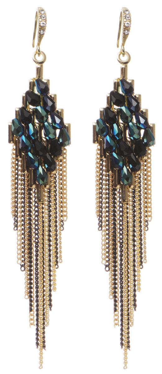 Серьги Fashion House, цвет: золотой, черный. FH32700FH32700Элегантные серьги Fashion House изготовлены из металлического сплава, дополнены оригинальными подвесками, которые оформлены цепочками, а также гранеными бусинками. В качестве основания изделия используется замок-петля, который надежно зафиксирует сережку. Стильные серьги помогут дополнить любой образ и привнести в него завершающий яркий штрих.