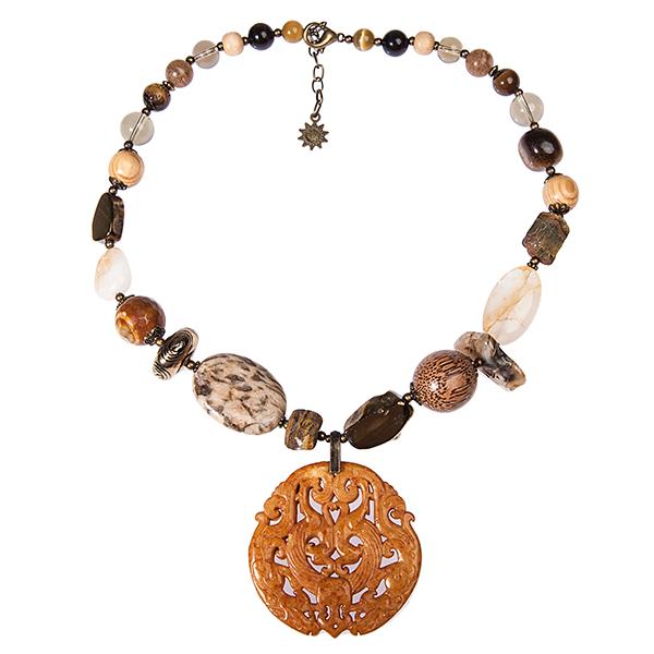Колье женское Selena Роман с камнем, цвет: коричневый. 1009295110092951
