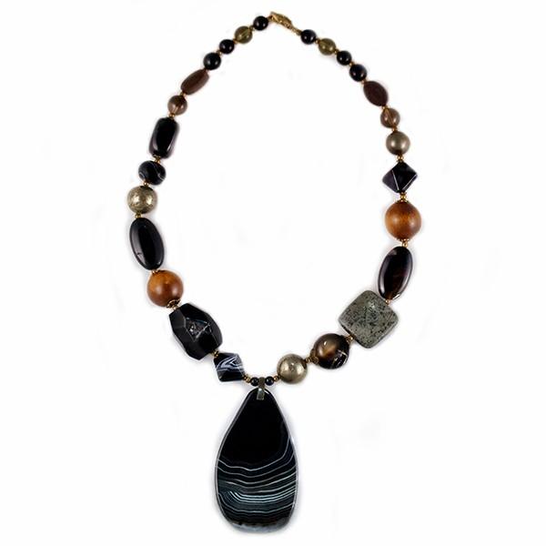 Колье женское Selena Роман с камнем, цвет: коричневый, черный. 1009298110092981