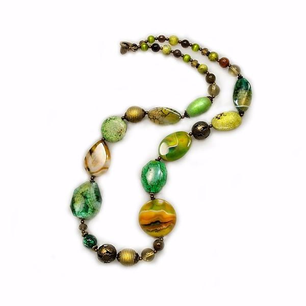 Колье женское Selena Роман с камнем, цвет: зеленый, коричневый. 1009387110093871