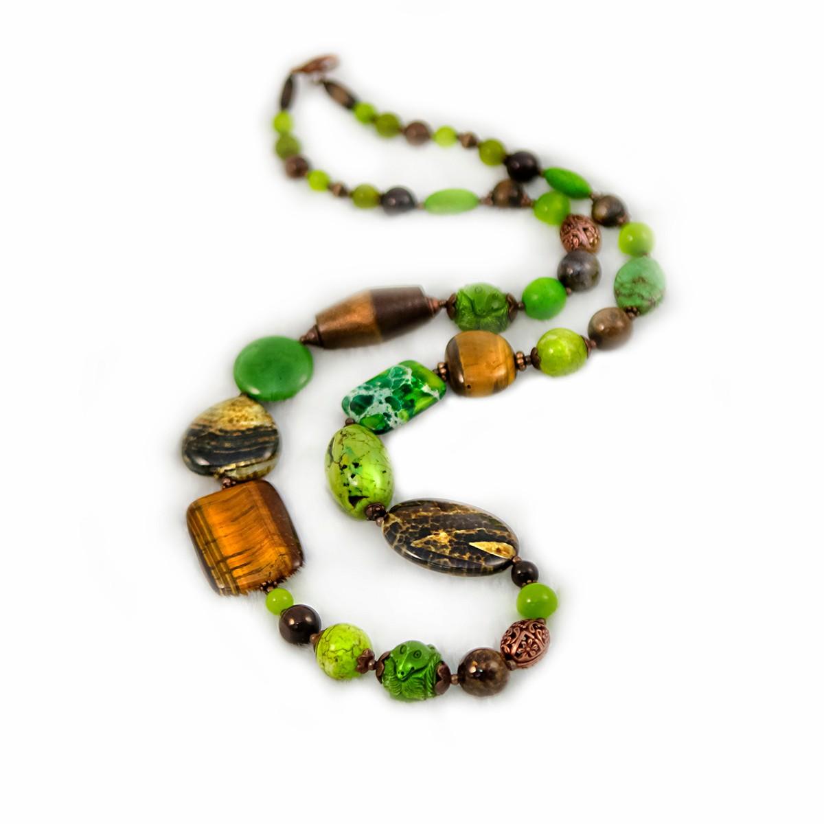 Колье женское Selena Роман с камнем, цвет: зеленый, коричневый. 1009410110094101