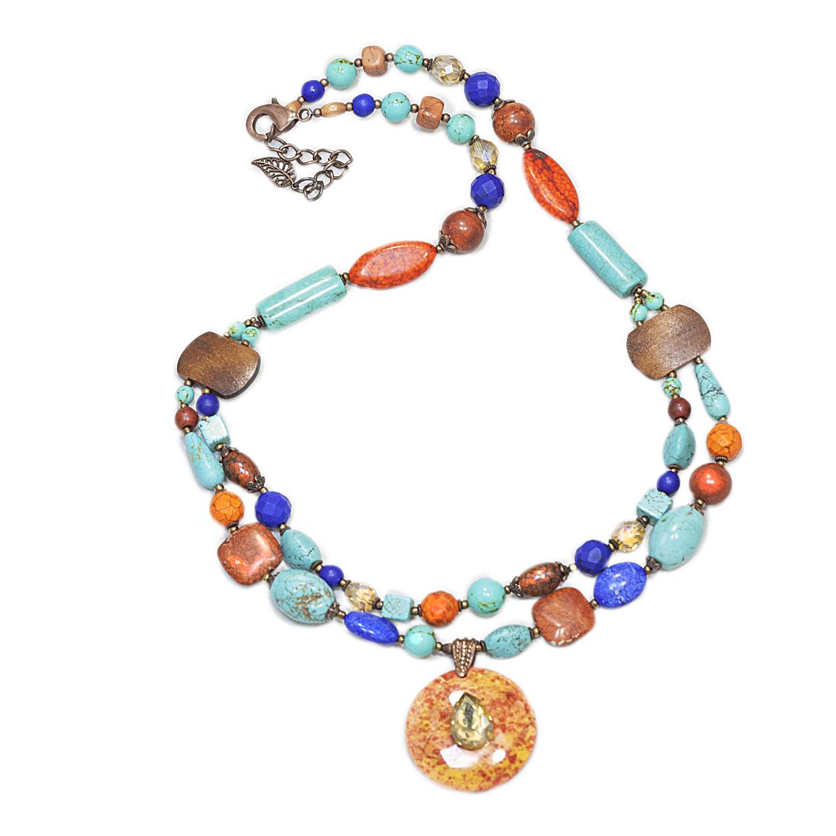 Колье женское Selena Роман с камнем, цвет: бирюзовый, оранжевый, синий. 1009461110094611