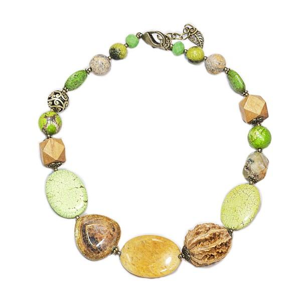 Колье женское Selena Роман с камнем, цвет: зеленый, коричневый. 1009462110094621