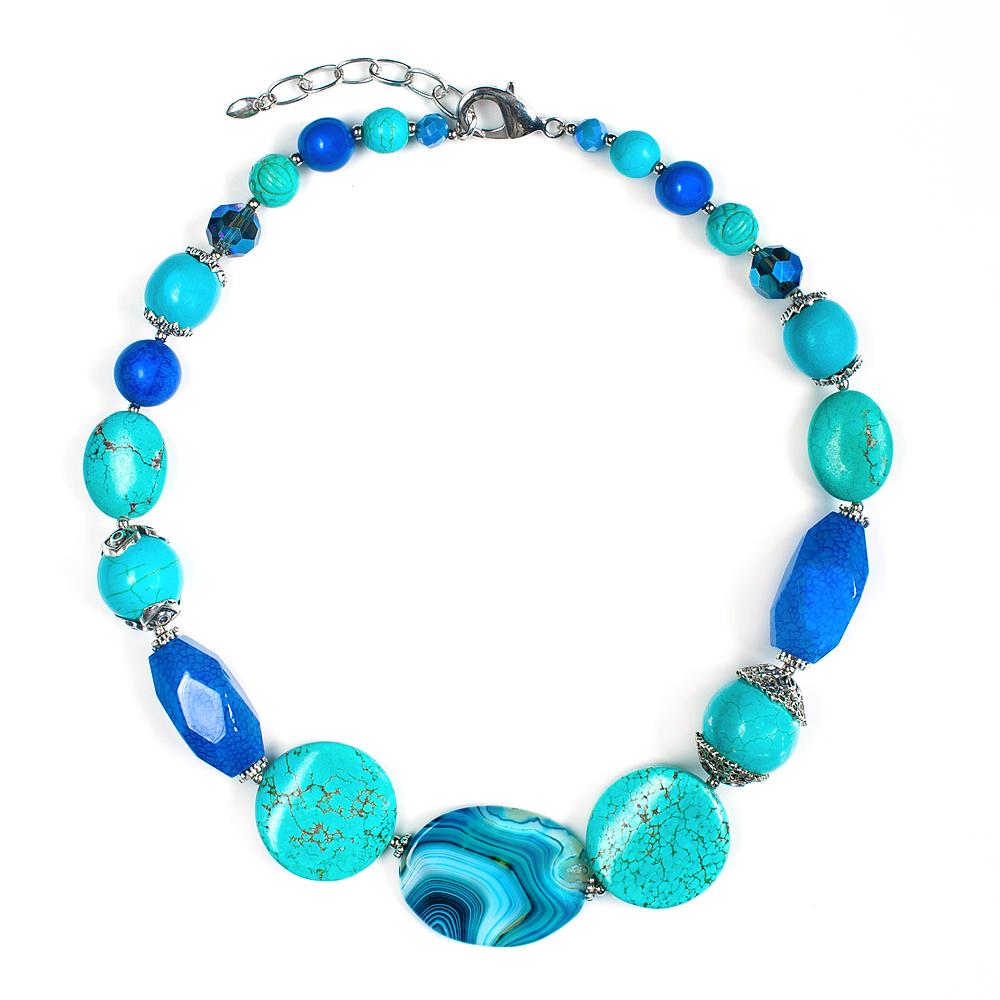 Колье женское Selena Роман с камнем Персия, цвет: бирюзовый, синий. 1009903110099031
