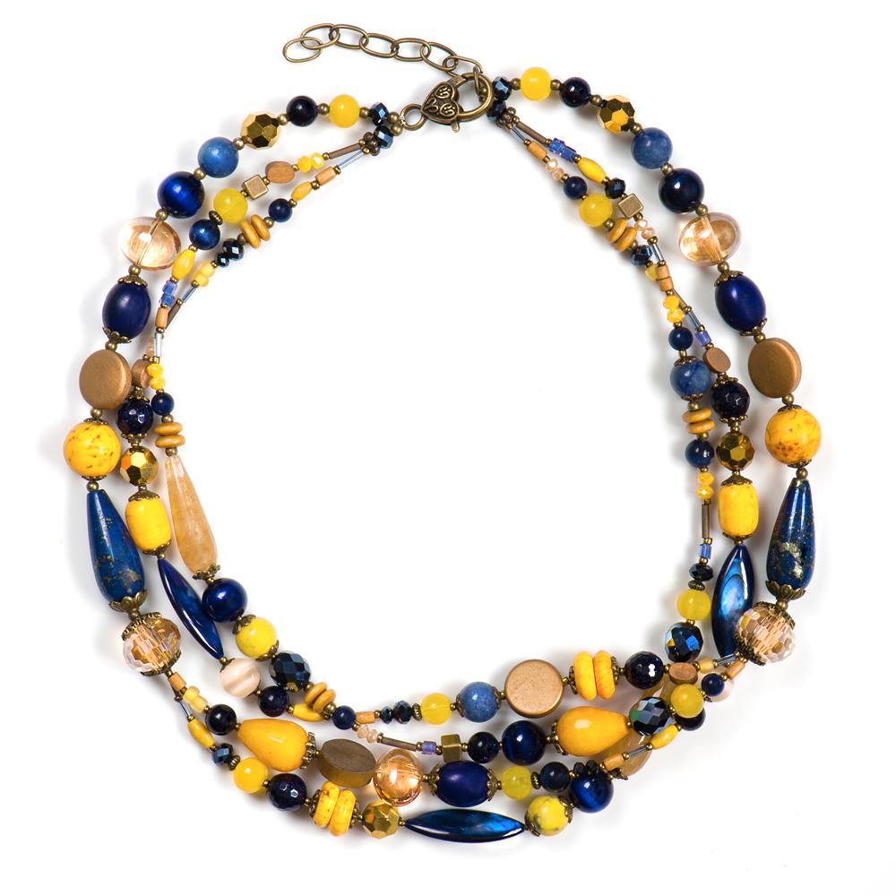 Колье женское Selena Роман с камнем Тропикана, цвет: желтый, коричневый, синий. 1009970110099701