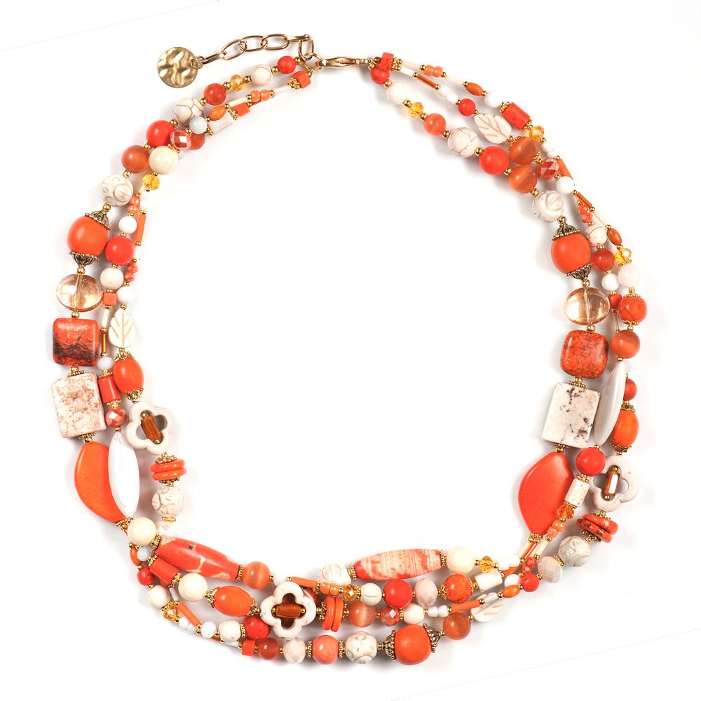 Колье женское Selena Роман с камнем Феникс, цвет: белый, золотистый, оранжевый. 1010006110100061