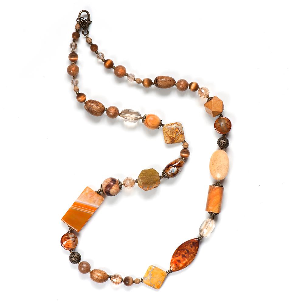Колье женское Selena Роман с камнем Девоншир, цвет: коричневый. 1010018110100181