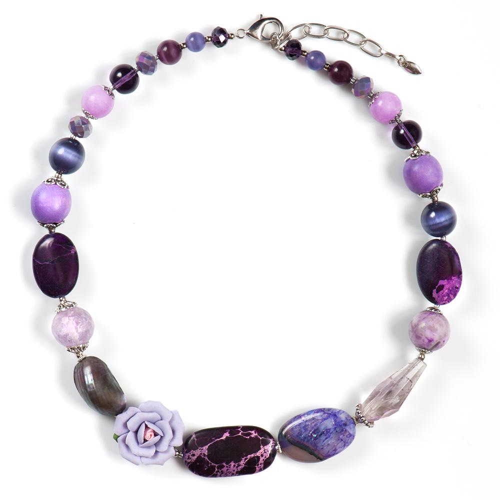 Колье женское Selena Роман с камнем Флер, цвет: сиреневый, фиолетовый. 1010021110100211