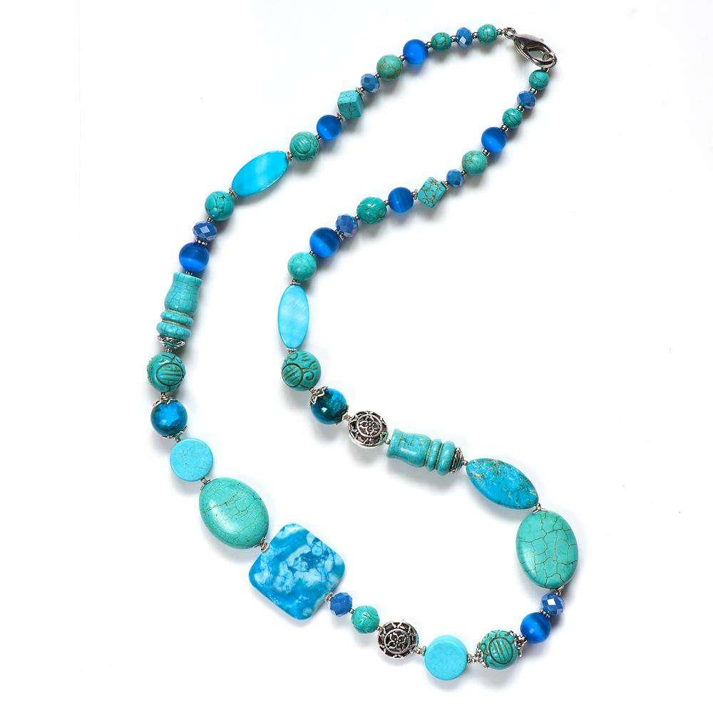 Колье женское Selena Роман с камнем Персия, цвет: бирюзовый, голубой, синий. 1010027110100271