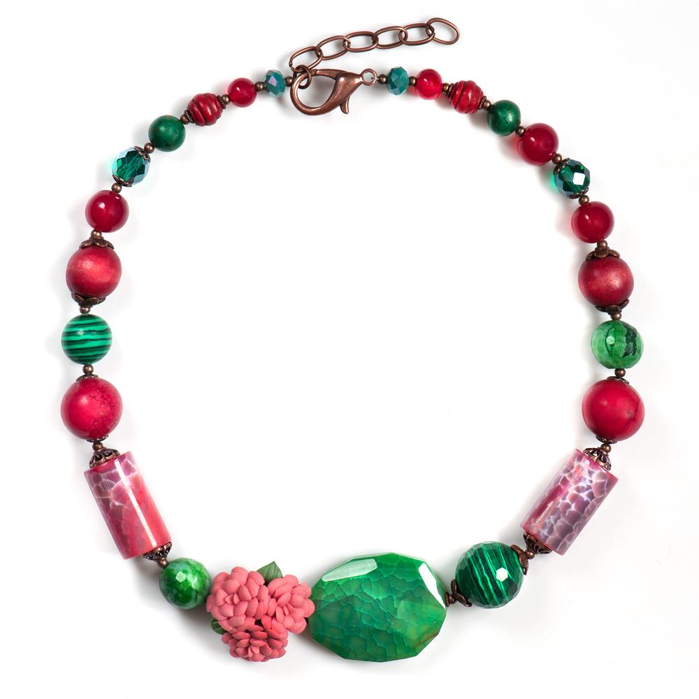 Колье женское Selena Роман с камнем Флер, цвет: бордовый, зеленый. 1010032110100321