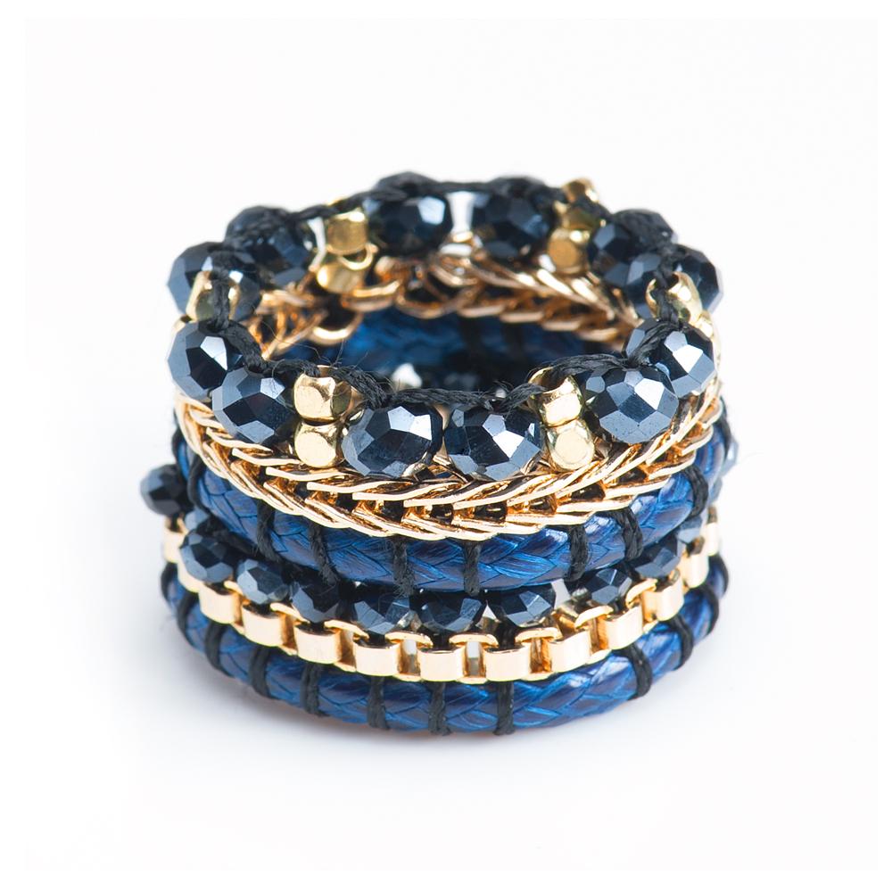 Кольцо женское Selena Beatrice, цвет: золотистый, синий. 6002470060024700