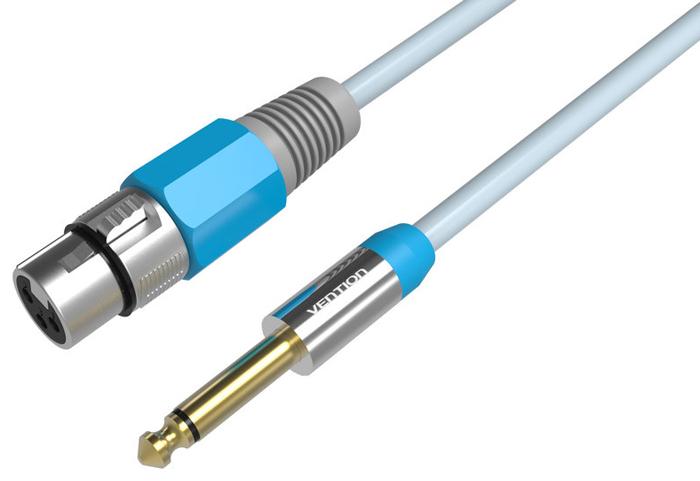 Vention Jack 6.35 mm-XLR аудиокабель (3 м)VAB-K01-S300Кабель Vention Jack 6.35 mm-XLR предназначен для передачи аналоговых моно звуковых сигналов между аудио, аудио-видео и (или) компьютерными устройствами или их компонентами. С помощью данного кабеля вы можете коммутировать профессиональное Hi-Fi и High-End оборудование. Продукция Vention соответствует следующим сертификатам: RoHS, CE, FCC, TIA, ISO. Тип оболочки: ПВХ Материал проводника: чистая бескислородная медь