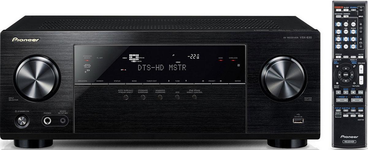 Pioneer VSX-830-K AV-ресиверVSX-830-KМощный АВ-ресивер Pioneer VSX-830-K передает видеосигнал ультра высокого разрешения 4K Ultra HD с частотой до 60 кадров/с. VSX-830 оснащен новейшим интерфейсом HDMI 2.0, а также технологией защиты контента HDCP 2.2. В ресивере предусмотрена улучшенная система калибровки MCACC Room, которая автоматически компенсирует разницу в размере, уровне и расстоянии от источника до акустических систем, и выравнивает частотные характеристики. Два предвыхода сабвуфера позволяют значительно улучшить НЧ характеристики. VSX-830 легко подключается практически к любому устройству: iPod/iPhone через AirPlay, Android-смартфон через MHL. Также можно использовать HTC Connect для воспроизведения музыки в высоком разрешении. Слушайте любимую музыку со стримингового сервиса Spotify Connect и интернет радио vTuner. Аудиофайлы в высоком разрешении воспроизводятся через USB и DLNA, это FLAC, WAV, ALAC и AIFF. Помимо всего прочего, благодаря встроенному Bluetooth-модулю можно...