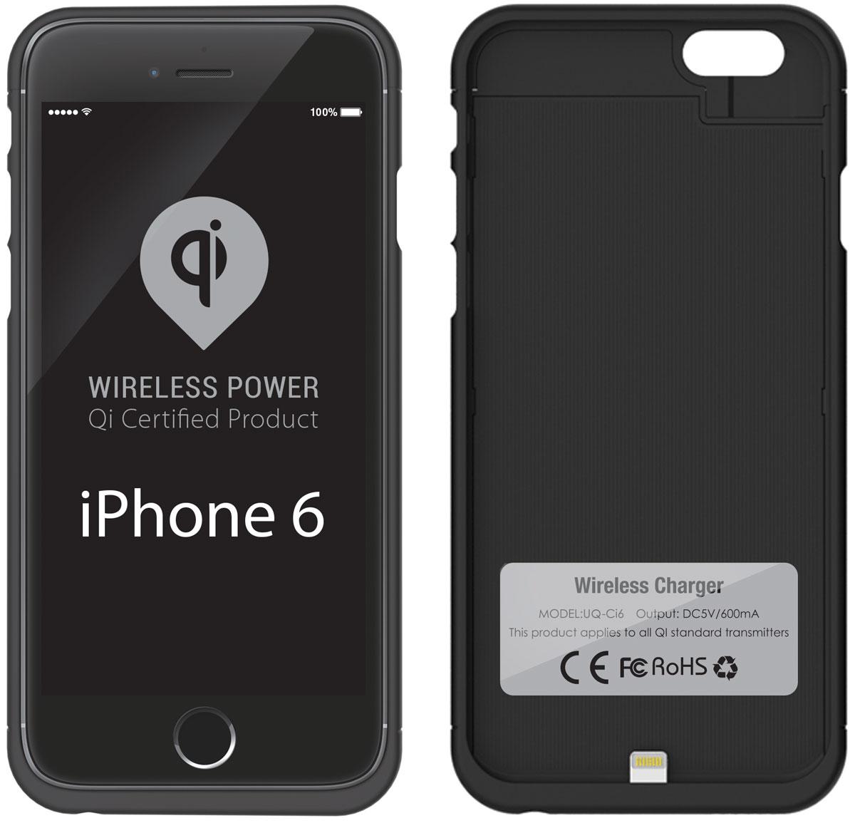 UPVEL UQ-Ci6 Stingray для iPhone 6, Black чехол-приемник для беспроводной зарядки стандарта QiUQ-Ci6 STINGRAYЧехол UPVEL UQ-Ci5 для iPhone 6 представляет собой аксессуар два в одном. Во-первых, он позволяет вашему iPhone 6 заряжаться от беспроводных устройств стандарта Qi и избавляет вас от необходимости постоянно подключать и отключать кабель зарядного устройства. Во-вторых, чехол прекрасно справляется с защитой телефона от повреждений и царапин. Рабочее расстояние: 3-7 мм Эффективность: 500 мАч Стандарты: WPC-1.0, WPC-1.1