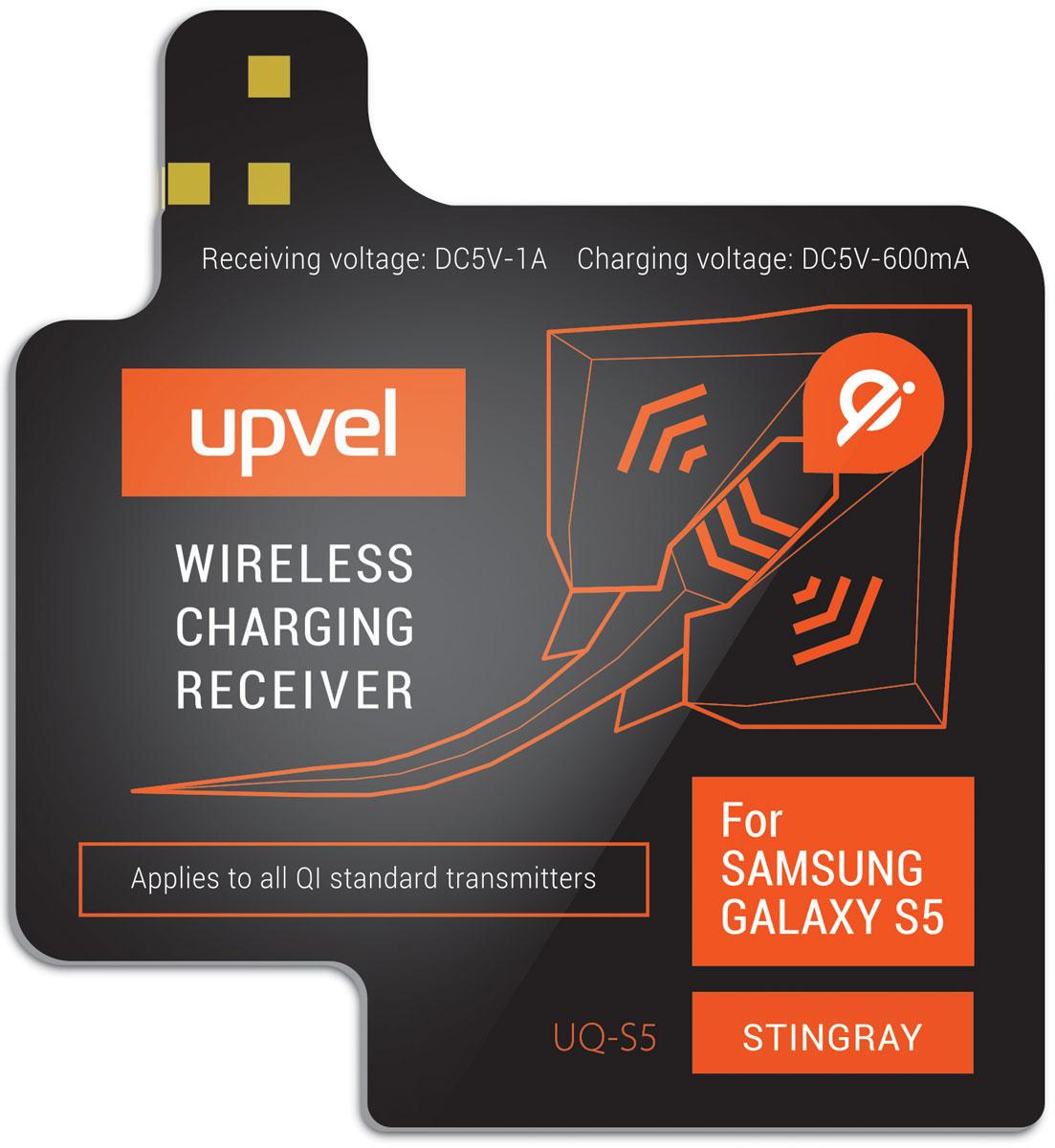UPVEL UQ-S5 Stingray для Samsung Galaxy S5, Black модуль-приемник беспроводной зарядки стандарта QiUQ-S5 STINGRAYUPVEL UQ-NT4 позволяет заряжать Samsung Galaxy S5 при помощи беспроводных зарядных устройств стандарта Qi. Плоский модуль беспроводной зарядки фиксируется на аккумуляторной батарее смартфона, под задней крышкой. Устройство не влияет на нормальную работу смартфона и не изменяет его внешний вид. Рабочее расстояние: до 5-7 мм Эффективность: 500 мАч Стандарты: WPC