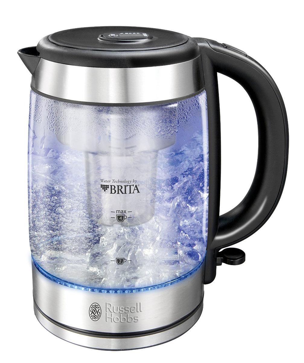 Russell Hobbs 20760-70, Clarity электрочайник20760-70Чайник Russell Hobbs 20760-70 оснащен инновационной системой фильтрации воды для производства очищенной воды, которая улучшает вкус напитков. Этот стильный чайник укомплектован встроенным фильтром Brita, который удаляет из воды различные примеси, хлор, поглощает медь и свинец, которые могут содержаться в водопроводной воде, предотвращает образование накипи. Встроенный электронный индикатор вовремя напомнит вам о необходимости замены картриджа фильтра. Чайник вмещает 1 литр отфильтрованной воды, что достаточно для приготовления кипятка на 6 чашек. Выполненный в корпусе из специализированного стекла Schott Glass с отделкой из матированной нержавеющей стали, чайник является воплощением стиля и изысканности. Отсек хранения шнура позволяет спрятать лишнюю длину, сохраняя порядок на столешнице. Отсек для нефильтрованной воды: 0.5 л