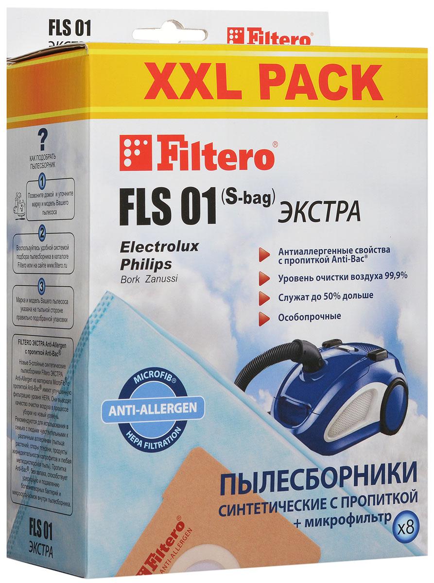 Filtero FLS 01 (S-bag) XXL Pack Экстра пылесборник (8 шт)FLS 01 (S-bag) (8) XXL PACK ЭКСТРАМешки-пылесборники Filtero FLS 01 (S-bag) XXL Pack экстра Anti-Allergen произведены из синтетического микроволокна MicroFib с антибактериальной пропиткой Anti-Bac. Очень прочные, они не боятся острых предметов и влаги, собирают больше пыли (до 50%) и обеспечивают уровень очистки воздуха 99,9%, а также задерживают бактерии и препятствуют их распространению. При этом мощность всасывания пылесоса сохраняется в течение всего периода службы пылесборника.
