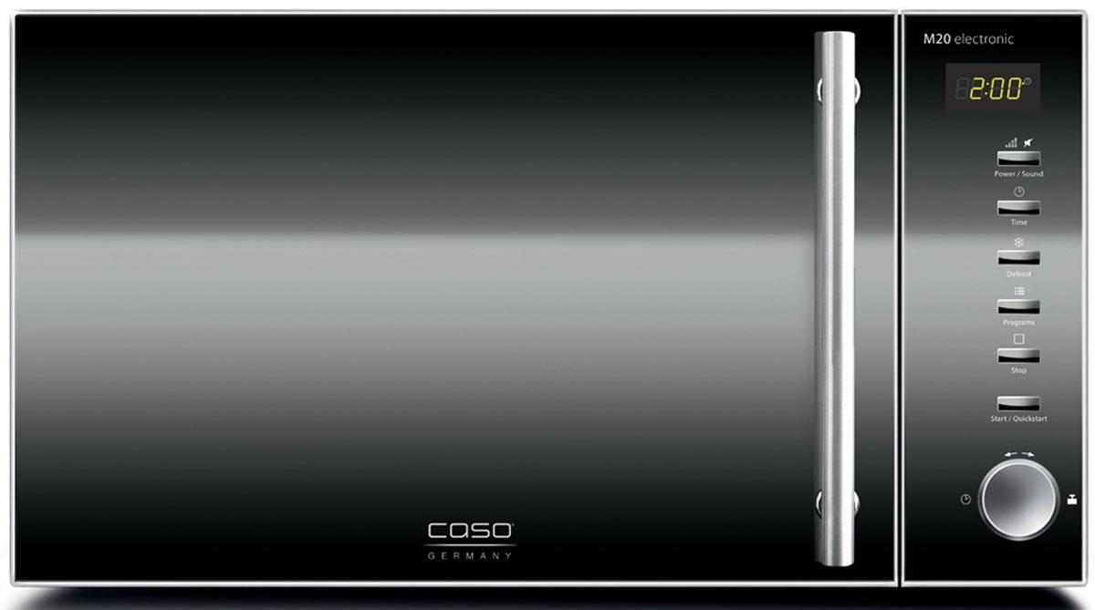 Caso M 20 Electronic, Black микроволновая печьM 20 Electronic BlackМикроволновая печь Caso M 20 Electronic имеет объем 20 литров, что вполне достаточно для разморозки, приготовления или разогрева блюд среднего и большого размера, а также для выпечки в формах. Мощность микроволнового излучения составляет 800 Вт. Микроволновая печь может предложить 5 уровней мощности микроволнового излучения, 60 минут времени на таймере, как максимальную величину, а также режим размораживания полуфабрикатов. К тому же, камера печи оснащена яркой подсветкой, а сама печь - звуковым сигналом окончания таймера с возможностью его отключения. Диаметр тарелки: 25,5 см