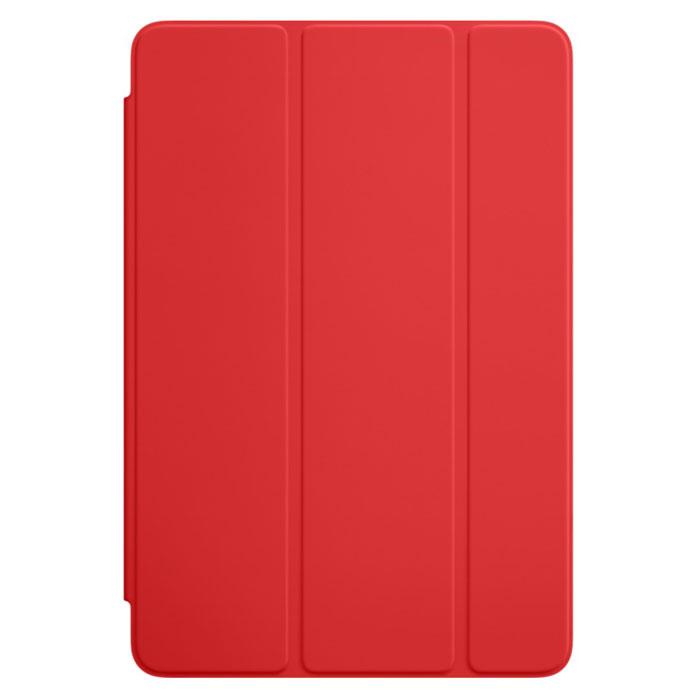 Apple Smart Cover чехол для iPad mini 4, RedMKLY2ZM/AОбложка Apple Smart Cover для iPad mini 4 создана из цельного листа полиуретана, чтобы защищать переднюю поверхность вашего устройства. Smart Cover автоматически выводит iPad из режима сна при открытии и переводит в режим сна при закрытии. Она складывается различными способами, что позволяет использовать её как подставку для чтения, просмотра фильмов, набора текста или звонков FaceTime. Обложка снимается и надевается очень легко - в любой момент.