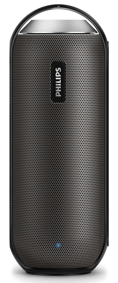 Philips BT6000B/12, Black портативная акустическая системаBT6000B/12Philips BT6000B/12 можно устанавливать в любое положение, как горизонтальное, так и вертикальное. Объемный глубокий звук 360°, прочный влагозащитный корпус, беспроводная передача музыки — все, что нужно для естественного и теплого звучания в любых условиях. Bluetooth — надежная и энергоэффективная технология беспроводной связи малого радиуса действия, которая позволяет с легкостью подключать iPod/iPhone/iPad и другие Bluetooth-устройства, например смартфоны, планшетные компьютеры и ноутбуки. Теперь вы сможете без проводов воспроизводить на этой акустической системе любимую музыку и звук во время игр или просмотра видео. Двойные излучатели 1,5 с неодимовыми магнитами обеспечивают естественный, чистый и сбалансированный звук, а два противоположно направленных пассивных излучателя усиливают басы. Передние и широкополосные тыловые излучатели создают равномерное звучание на 360 градусов, позволяя наслаждаться качественным звуком при любом...