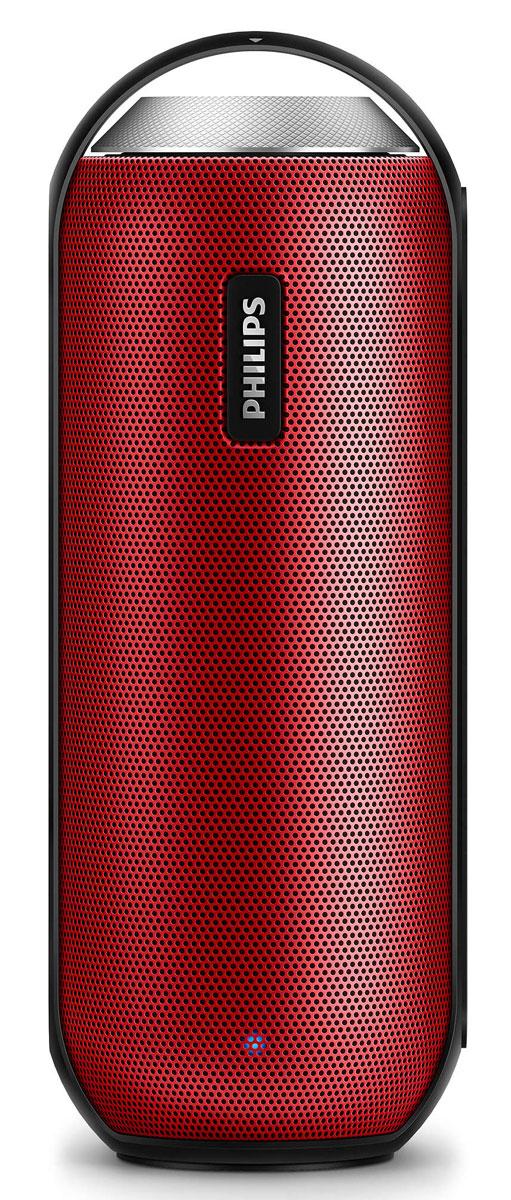 Philips BT6000R/12, Red портативная акустическая системаBT6000R/12Philips BT6000R/12 можно устанавливать в любое положение, как горизонтальное, так и вертикальное. Объемный глубокий звук 360°, прочный влагозащитный корпус, беспроводная передача музыки - все, что нужно для естественного и теплого звучания в любых условиях. Bluetooth - надежная и энергоэффективная технология беспроводной связи малого радиуса действия, которая позволяет с легкостью подключать iPod/iPhone/iPad и другие Bluetooth-устройства, например смартфоны, планшетные компьютеры и ноутбуки. Теперь вы сможете без проводов воспроизводить на этой акустической системе любимую музыку и звук во время игр или просмотра видео. Двойные излучатели 1,5 с неодимовыми магнитами обеспечивают естественный, чистый и сбалансированный звук, а два противоположно направленных пассивных излучателя усиливают басы. Передние и широкополосные тыловые излучатели создают равномерное звучание на 360 градусов, позволяя наслаждаться качественным звуком при любом...