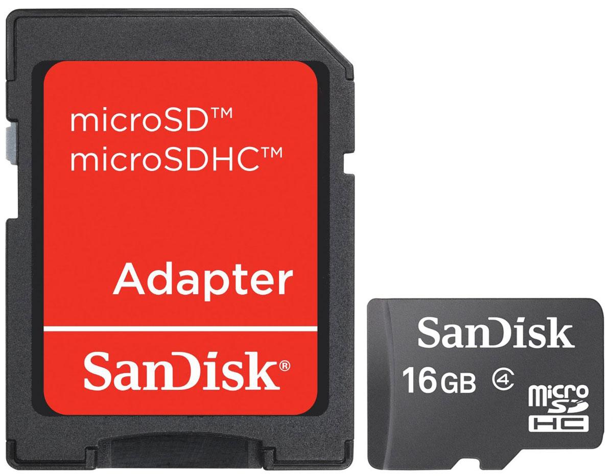 SanDisk microSDHC Class 4 16GB карта памяти с адаптеромSDSDQM-016G-B35AКарты памяти SanDisk microSDHC Class 4 обеспечивают высокую скорость (не менее 4 МБ/с, поддержка класса 4) при работе с фотографиями, видео и приложениями на мобильном телефоне или планшете. Входящий в комплект поставки адаптер SD позволяет легко переносить файлы с ПК на мобильный телефон или планшет - теперь вы можете раскрыть все функциональные возможности ваших гаджетов!