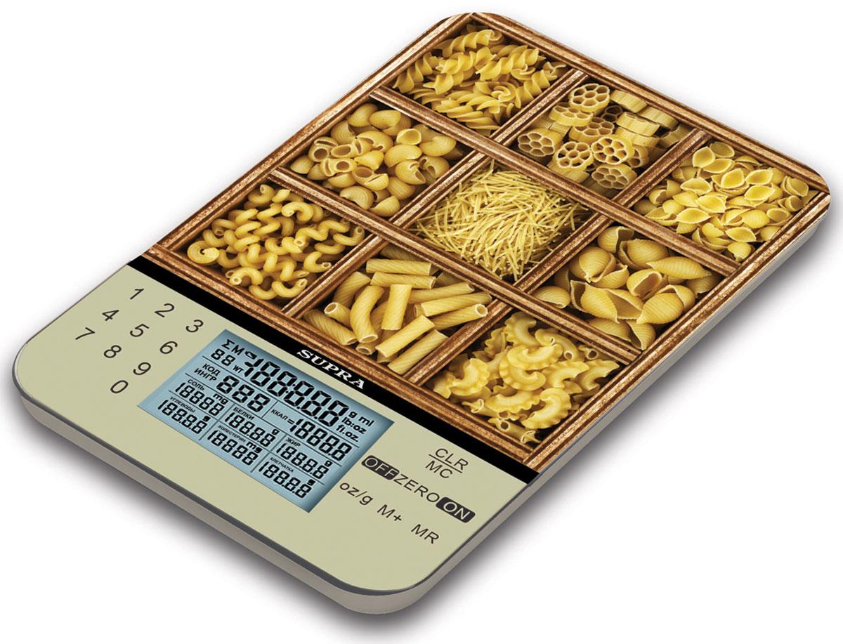 Supra BSS-4081P весы кухонныеBSS-4081PКухонные электронные весы Supra BSS-4081P - незаменимые помощники современной хозяйки. Предназначены для взвешивания продуктов и расчета их энергетической и питательной ценности (калории, соли, белки, жиры, углеводы, холестерин, пищевые волокна). Взвешивание продуктов с точностью измерения 1 г.