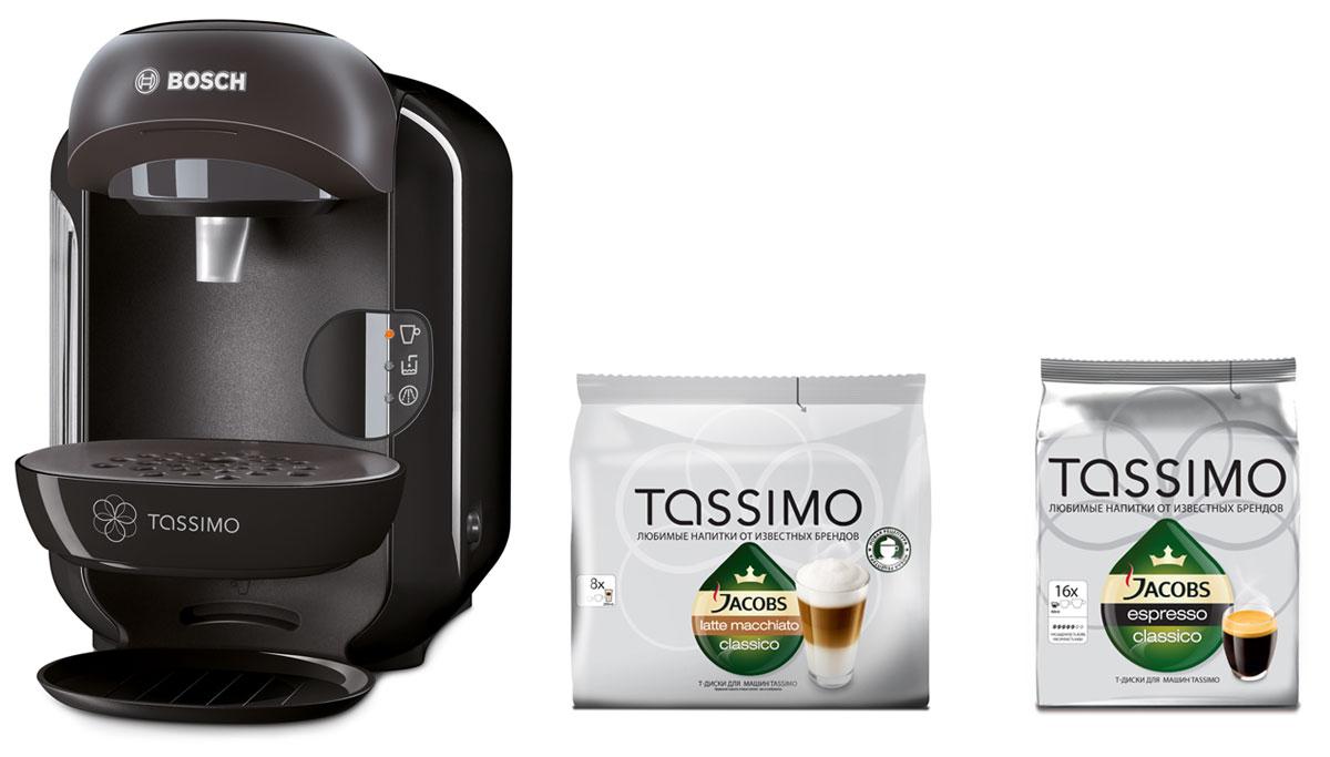 Bosch Tassimo Vivy TAS1252, Black капсульная кофемашина + 2 упаковки кофе в подарок ( 4251542 )