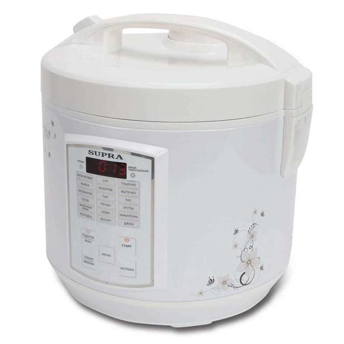 Supra MCS-5181 мультиваркаMCS-5181С помощью мультиварки Supra MCS-5181 вы приготовите тушеное мясо или же овощи на пару быстро и без лишних усилий. В случае необходимости вы можете вручную отрегулировать температуру и время готовки блюд. Прибор автоматически будет поддерживать тепло, а если вы хотите получить рано утром вкусный завтрак, то можете запрограммировать функцию отложенного старта. Множество автоматических программ позволяют без труда приготовить различные блюда. За готовкой не нужно следить, это существенно сэкономит ваше время. Съемная чаша с антипригарным покрытием позволяет готовить блюда без использования масла, отлично проводит тепло и прекрасно подходит для жарки, тушения, выпечки и варки каш. Дисплей Емкость для сбора конденсата Звуковая сигнализация окончания приготовления Световая индикация выбранного режима Часы