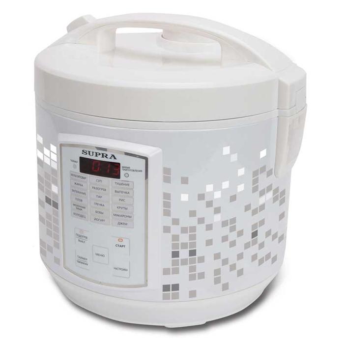 Supra MCS-5182 мультиваркаMCS-5182С помощью мультиварки Supra MCS-5182 вы приготовите тушеное мясо или же овощи на пару быстро и без лишних усилий. В случае необходимости вы можете вручную отрегулировать температуру и время готовки блюд. Прибор автоматически будет поддерживать тепло, а если вы хотите получить рано утром вкусный завтрак, то можете запрограммировать функцию отложенного старта. Множество автоматических программ позволяют без труда приготовить различные блюда. За готовкой не нужно следить, это существенно сэкономит ваше время. Съемная чаша с антипригарным покрытием позволяет готовить блюда без использования масла, отлично проводит тепло и прекрасно подходит для жарки, тушения, выпечки и варки каш. Дисплей Емкость для сбора конденсата Звуковая сигнализация окончания приготовления Световая индикация выбранного режима Часы