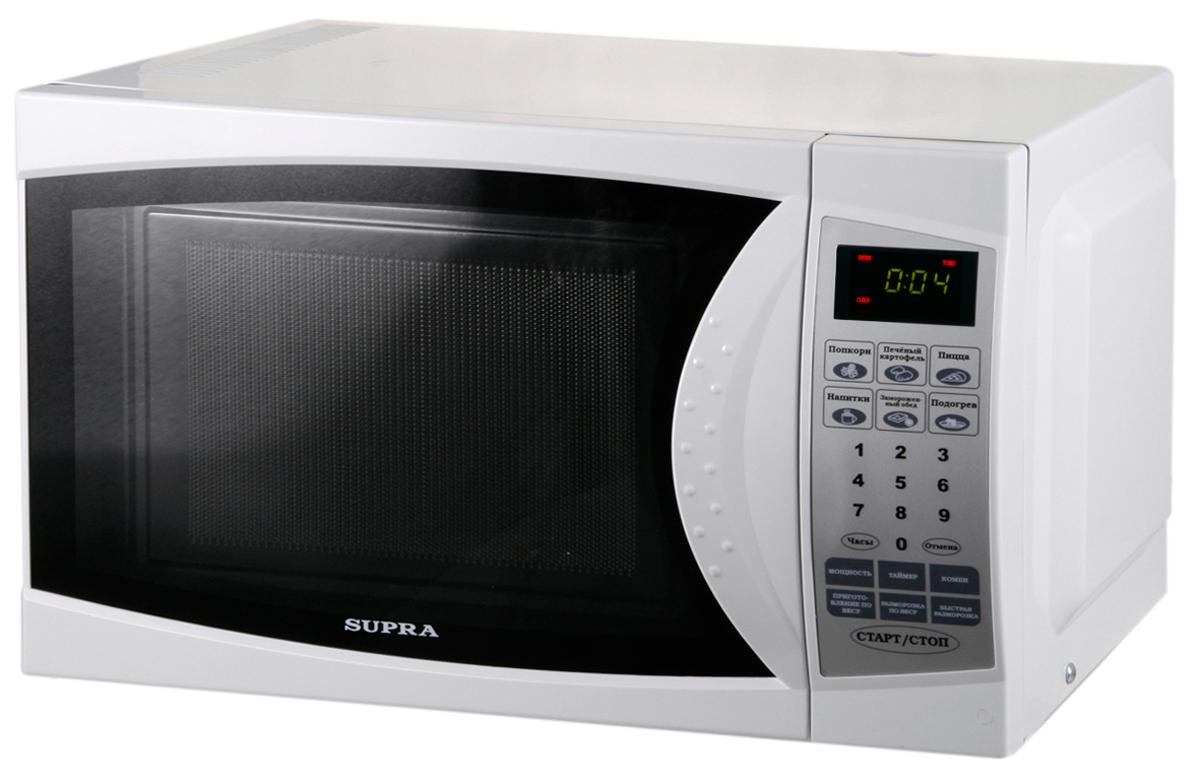 Supra MWS-1824SW микроволновая печьMWS-1824SWМикроволновая печь Supra MWS-1824SW органично впишется в интерьер вашей кухни, а большое количество полезных функций, таких как наличие программ автоматического приготовления, автоматическое размораживание, автоматический разогрев и многих других, сделает ее незаменимой помощницей в приготовлении вкусных блюд. Диаметр стеклянной тарелки: 245 мм Автоматическая разморозка Автоматическое приготовление Количество уровней мощности: 6 Подсветка камеры Звуковой сигнал