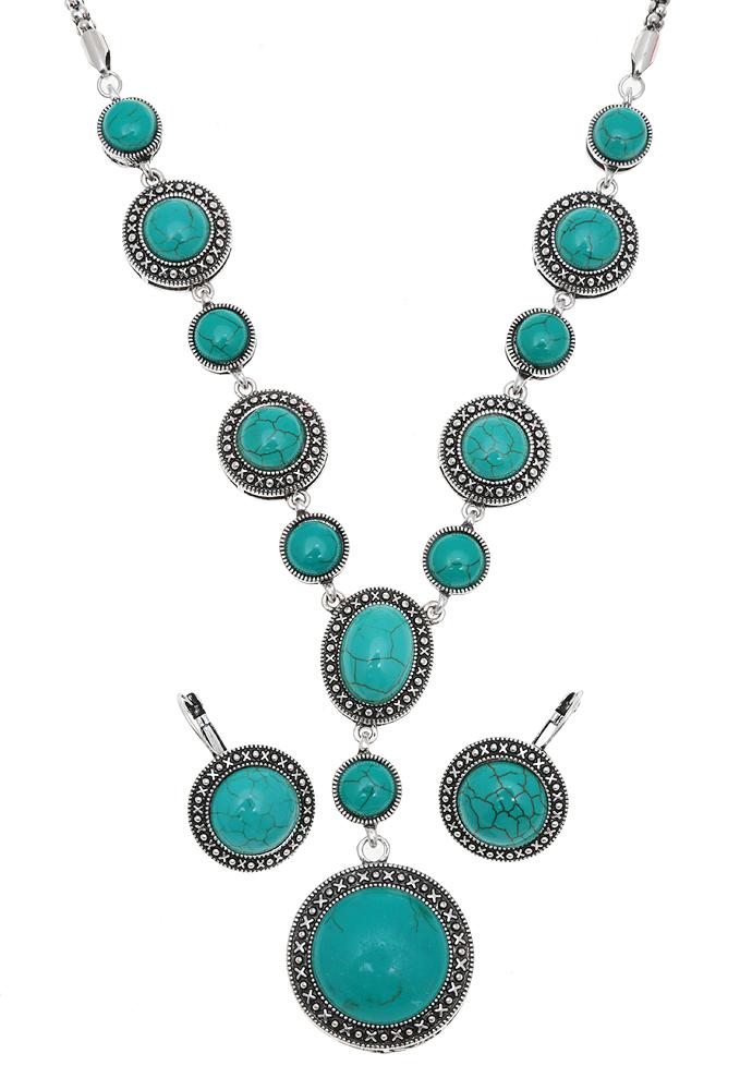 Комплект 'Царица гор': ожерелье и серьги. Натуральная бирюза (прессованная крошка), бижутерный сплав серебряного тона. Тибет