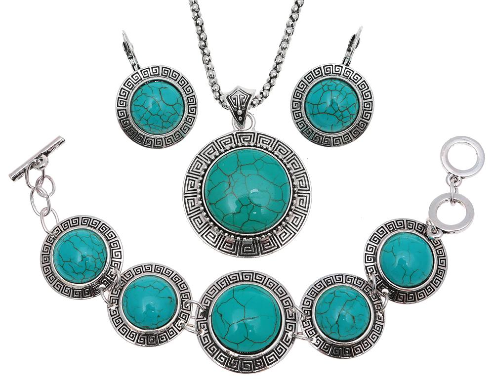 Комплект 'Утро в горах': ожерелье, браслет и серьги. Натуральная бирюза (прессованная крошка), бижутерный сплав серебряного тона. Тибет