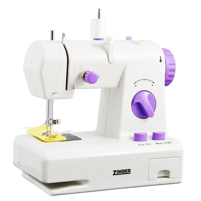 Zimber 10919-ZM швейная машинаZM-10919Мини швейная машинка с обратным ходом Zimber 10919-ZM по своим характеристикам не уступает домашним настольным швейным машинкам. Ее основная особенность в регулировке длинны стежка как в переднем ходе так и в заднем. C ее помощью вы сможете заштопать, прошить, ушить, подшить любые ткани и одежду, прострочить рваное постельное белье, аккуратно подшить шторы, укоротить занавески по форме окон. Модель компакта и удобна в использовании, снабжена напольной педалью, двумя винтами, функцией намотки шпулек и системой обратного хода. Машина работает как от сетевого адаптера, так и от четырех батареек типа АА. Швейная машинка Zimber 10919-ZM будет так же отличным подарком детям и взрослым, поможет освоить навыки шитья.