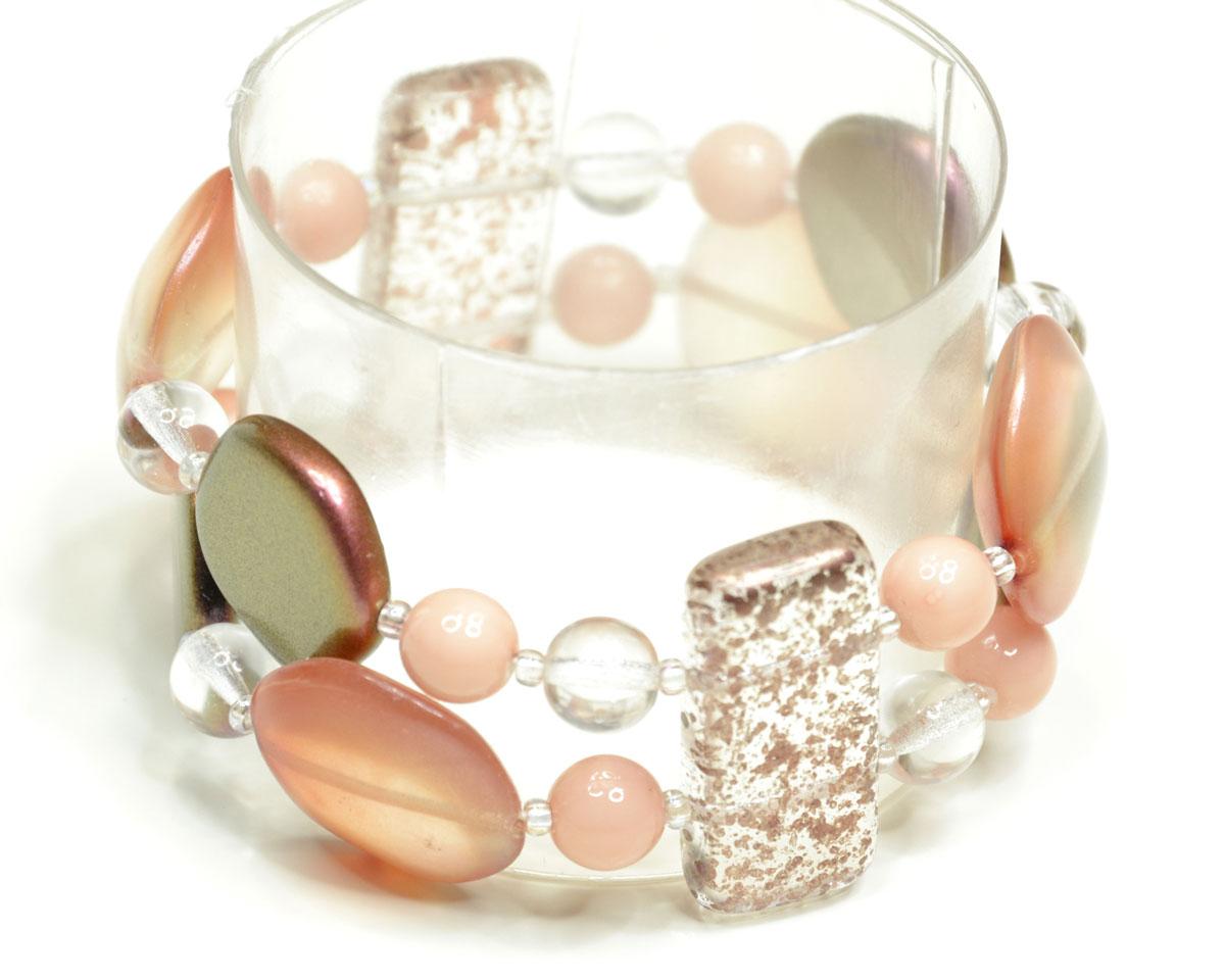 Браслет Bohemia Style, цвет: розовый, прозрачный. 165 5026 00