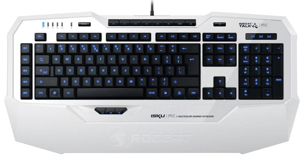 ROCCAT Isku FX, White игровая клавиатураROC-12-931Клавиатура Roccat Isku FX – это мощное оружие для того, кто желает получить сто процентов удовольствия от игрового процесса. Созданная на основе инновационной технологии Roccat Talk, эта клавиатура позволяет получить дополнительное преимущество всем те, кто пользуется манипуляторами Roccat Kone XTD и Kone Pure – теперь игра вместе с ними заиграет новыми красками. Полное взаимодействие друг с другом, благодаря которому использование становится еще функциональнее. Первое, что дает Roccat Talk - это еще большее удобство от функции Easy-Shift[+], которая позволяет задавать сразу две функции на программируемые кнопки. Кроме того, Roccat Talk интеллектуально облегчает игровой процесс – новаторская технология Easy-Aim, которая оптимизирует разрешение мыши и позволяет достигнуть небывалой точности – всего лишь с помощью нажатия и удержания одной единственной клавиши на Roccat Isku FX. Для игрока доступны 36 клавиш, и которых восьми можно задать сразу по две...