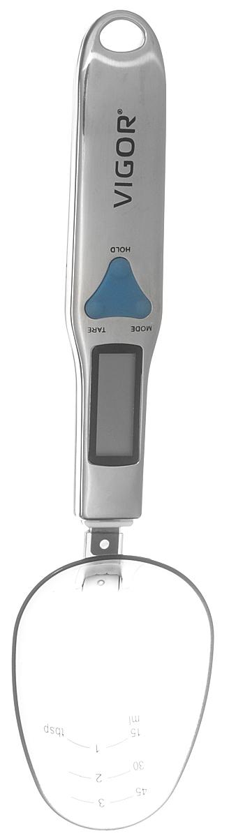 Vigor HX-8211 кухонные весы-ложкаHX-8211Кухонные весы-ложка Vigor HX-8211 с LCD-дисплеем помогут вам с большой точностью измерять массу различных сыпучих и жидких продуктов питания. Данная модель имеет функцию запоминания веса и шкалу миллилитров на самой ложке. Вы можете получать результат как в граммах, так и в унциях. Питание осуществляется с помощью двух батареек типа ААА.