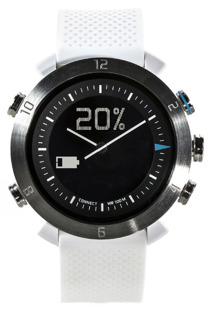 Cogito Classic, White смарт-часыCW2.0-003-01Cogito Classic - новый, но уже зарекомендовавший себя гаджет из категории connected watch. Разработчики поместили японский часовой механизм и высокотехнологичную начинку умных часов в водонепроницаемый корпус (до 100 м), чтобы вы могли следить за событиями в своем цифровом окружении. Теперь вы сможете получать уведомления о звонках, твитах, сообщениях, постах в социальных сетях и электронных письмах, просто привязав Cogito Classic к смартфону. Cogito Classic не нуждается в ежедневной подзарядке - одна батарейка обеспечит год непрерывной работы! Часы Cogito Classic созданы, чтобы стать частью стиля делового, общительного и чуткого к веяниям моды человека. Выберите цветовое решение по вкусу и носите их как стильный и функциональный аксессуар. Чтобы начать работу с устройством, достаточно ознакомиться с инструкцией, установить на смартфон или планшет фирменное приложение Connected Watch App и установить соединение через Bluetooth. В приложении вы сможете настроить...